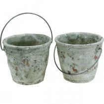 Seau décoratif, céramique pour la plantation, décoration de jardin, seau à plantes optique antique Ø13,5cm H12cm 2pcs