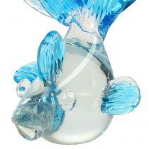 Poisson décoratif en verre limpide, bleu 15 cm