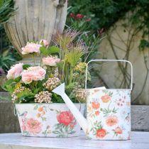 Arrosoir décoratif métal roses vintage décoration été jardin H31.5cm
