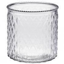 Verre décoratif, lanterne motif losange, vase en verre Ø15cm H15cm