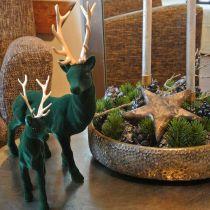 Figurine déco cerf debout or vert décoration de table Avent 27cm