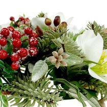 Couronne décorative avec roses de Noël Ø 30 cm
