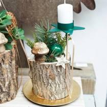 Champignon décoratif en bois nature 5cm 6pcs