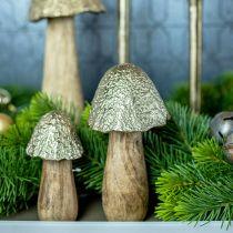 Champignon déco métal bois doré, décoration table nature automne 18.5cm