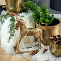 Cheval à bascule déco bois massif Noël nature, doré 28 × 39 × 9,5cm