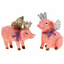 Figurine de décoration cochon avec couronne 9 cm 2 p.