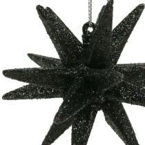 Déco étoile noire mica 7,5cm 8pcs