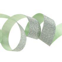 ruban décoratif vert clair avec mica 10mm 150m