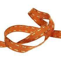 ruban décoratif orange avec fil métallique 15mm 15m