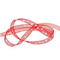 Ruban déco rouge avec motif en étoile 10mm 20m