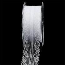 Ruban décoratif dentelle blanc 40mm 20m
