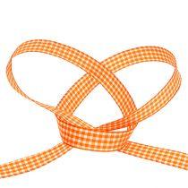 ruban décoratif à carreaux orange 1,5cm 20m