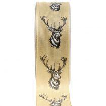 ruban décoratif nature avec motif de cerf 40mm 20m