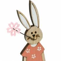 Figurine décorative lapin de Pâques orange, lapin en bois blanc Décoration de Pâques 6pcs