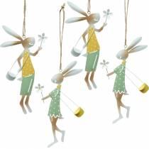 Figurines décoratives paire de lapins, décoration en métal, lapins de Pâques à accrocher, décoration de printemps 4pcs