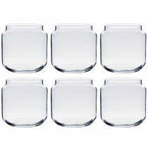 Verre décoratif, vase à fleurs, lanterne en verre, décoration de table Ø10,5cm H10cm 6pcs