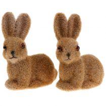 Bunny pour la décoration floqué marron 8,5cm 6pcs