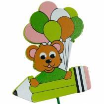 Stylo bouchon décoratif avec ours en peluche et ballons bouchon de fleur décoration d'été enfants 16pcs