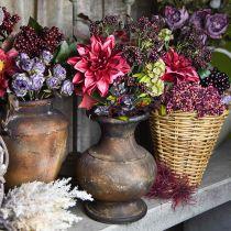 Bouquet artificiel avec dahlia et baies violettes 45cm