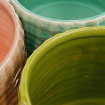 Pots décoratifs motif panier, jardinière, jardinière en céramique menthe / vert / rose Ø13cm 3pcs