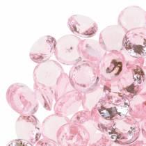 Pierres décoratives Diamant acrylique Rose clair Ø1,2cm 175g Pour décoration d'anniversaire