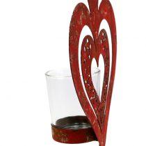 Déco coeur avec lanterne H26cm
