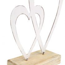 Double coeur blanc au pied H18cm