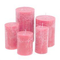 Bougies roses teintées dans la masse, différentes tailles