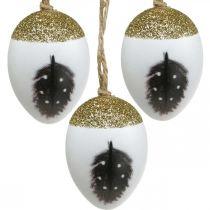 Oeufs nobles à suspendre, printemps, oeufs de Pâques avec motif printanier, oeufs décoratifs dans une boîte en bois, décoration de Pâques 6pcs