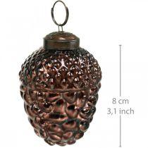 Cônes décoratifs en verre de gland brun pour suspendre la décoration de l'Avent 5,5 × 8cm 12pcs