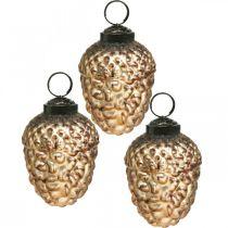 Verre de gland doré cônes déco vintage Décorations pour sapin de Noël 5.5 × 8cm 12pcs