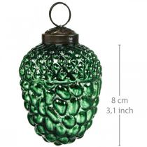 Verre de gland vert cônes de décoration d'automne décorations d'arbre de Noël 5.5 × 8cm 12pcs