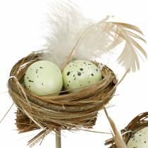 Bouchon décoratif nid d'oiseau, décoration de Pâques, nid avec oeufs 23cm 6pcs