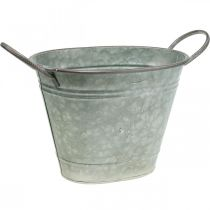 Bac à fleurs, bac en métal avec poignées, bol décoratif L32cm H24cm