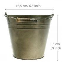 Seau décoratif avec anse, décoration de jardin, cache-pot, vase en métal Ø16,5cm H15cm