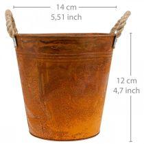 Cache-pot, décoration automne, vase métal patiné Ø14cm H12cm