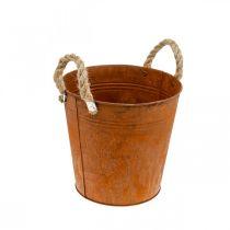 Pot décoratif avec anses, décoration automne, vase en métal patiné Ø22cm H21cm