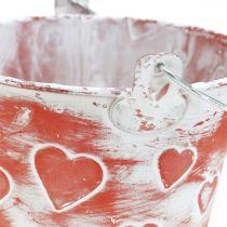 Seau décoratif décor coeur, récipient en métal, Saint Valentin, anse seau Ø12cm