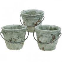 Seau à planter, vase en céramique, décoration de seau, optique antique Ø11,5cm H10,5cm 3pcs