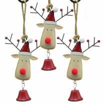 Pendentif de Noël tête de wapiti avec cloche 11,5cm rouge, beige 3pcs