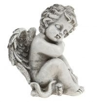 Figurine commémorative ange endormi gris 16cm 2pcs