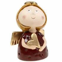 Bougeoir ange en céramique avec coeur H17cm