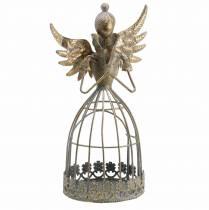 Ange décoratif en métal or antique Ø9.2 H22cm
