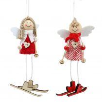 Ange comme décoration figure 15cm rouge, 4pcs blanc