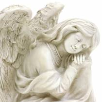 Ange décoratif assis 19cm x 13,5cm H15cm