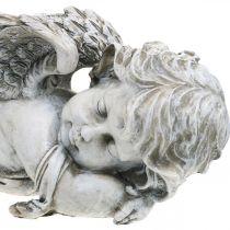 Décoration tombe ange endormi Tombe ange gris polyrésine 39×14x13cm