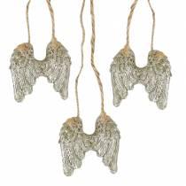 Ailes d'ange à suspendre en paillettes d'or 5cm × 5,2cm 12pcs
