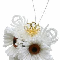 Chouette décorative avec couronne à suspendre blanc, paillettes 6,5 × 8cm 6pcs.