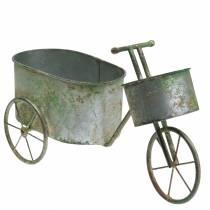 Pot de fleur vélo gris zinc, vert 40 × 14 × 21cm