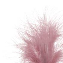 Piques avec plumes roses L30cm 12P